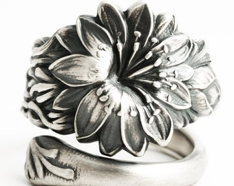 Carnation Ring, February Flower, Sterling Silver Spoon Ring, Antique Watson Flower of the Month Series No 1 of 1900, Adjustable Ring (6315)