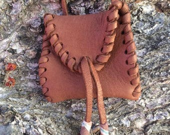 Milk Chocolate Brown Square Medicine Pouch with Beads