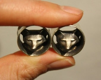 "5/8"" Sterling Silver Fox Plugs"
