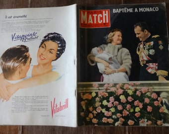 Vintage French Paris Match Magazine No 414 Bapteme A Monaco Special circa 16 Mars March 1957 / English Shop