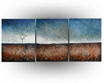 Triptych Abstract Landscape Tree painting Acrylic Palette knife Impasto Heavy Textured Brown and Blue  - 20 x 48  - by Skye Taylor
