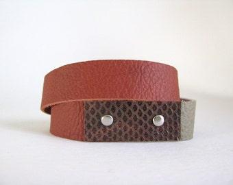 brown grey leather wrap bracelet - brown grey boho hippie gypsy festival wrap bracelet - brown rust grey wrap bracelet - gift for her
