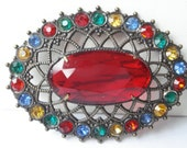 Vintage Large Red Rhinestone Brooch 30's Czech