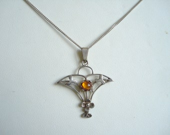 Sterling Silver Pendant and Chain Amber Glass Vintage