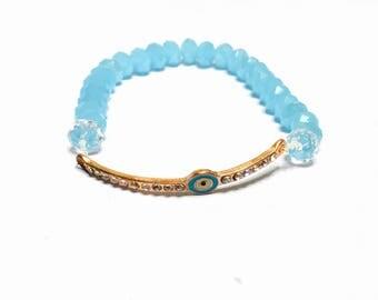 Lucky evil eye Bracelet,  blue crystals, stretchy, beaded, layering, handmade, item no. De 424
