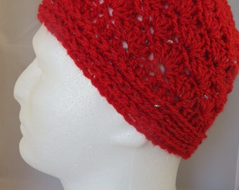 Women's Red Seashell Bun/Ponytail Beanie