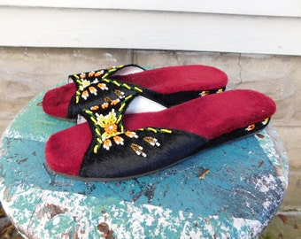 Vintage Beaded Slippers, Velvety Slip On Shoes