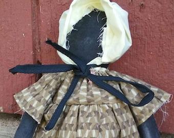 Doll, Primitive, Pioneer, Prairie, Faceless,  Black Doll, Shelf Sitter,  Wall Hanger, Art Doll, OFG