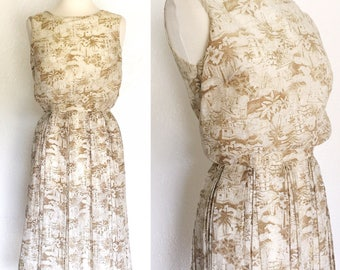 FREE SHIPPING// Victorian Picnic Dress//1950s Brown and Ivory Dress/Sleeveless Tropical Dress