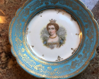 Carlsbad China Austria Portrait of Maria Teresa of Spain and Juliette-Recamier plates