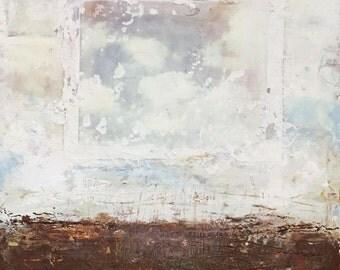 "Encaustic Painting by Angela Petsis,  Encaustic Art, Original Painting - ""Portrait of Sky"", Mixed Media Painting, Cloud Painting, Sky"
