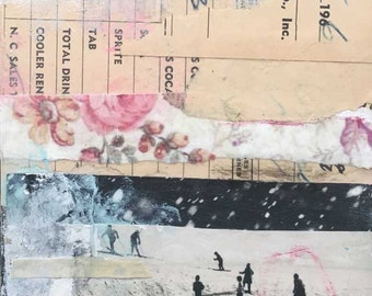 Collage on Wood by Angela Petsis. Original Paper Collage, Ski, Snow, Whimsical Art