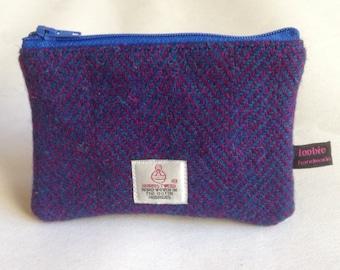 Harris Tweed herringbone coin purse, zipped coin pouch, change purse, scottish gift, friend gift