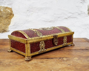 Tin box chest French crocodile box Embossed Burgundy gold embossed George and the Dragon biscuit