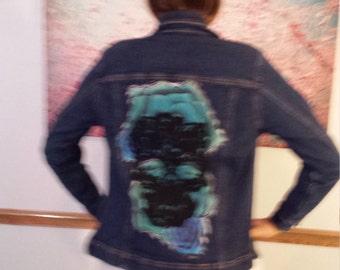 Teal Turquoise Roses and Black Skull Embellished Jean Jacket Sz  M