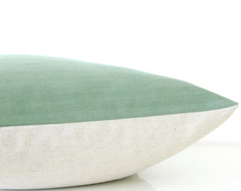 Green pillow - organic cotton pillow with natural linen, rustic modern style, eco friendly decor