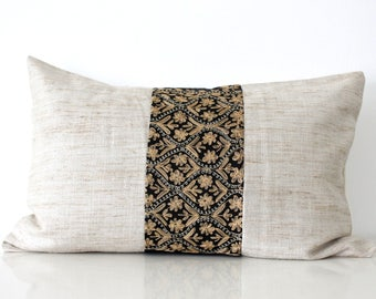 Boho pillow: silk pillow in natural silk and vintage embroidery on black, global decor pillow, bohemian pillow