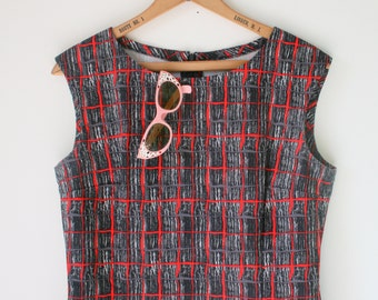 Vintage POSH Mod Black and Red Dress.size small to medium.rocker. mod. striped. fancy dress. black dress. sundress. posh. little black dress