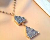 LOVE SALE Sparkling Aura Druzy and labrodorite vermeil necklace