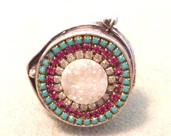 SUPER SALE Druzy and austrian crystal ring
