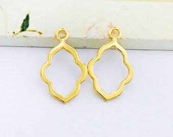 2 of 925 Sterling Silver 24k Gold Vermeil Style Moroccan Style Drop Pendants 12x16mm.  :vm0851