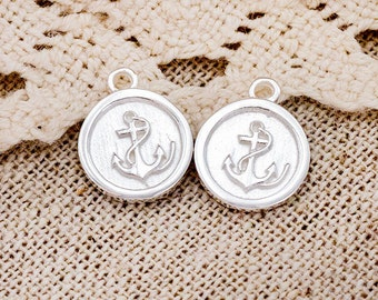 2 of 925 Sterling Silver Anchor Printed Charms 10.5mm. :tm0162