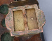 Antique big primitive copper belt buckle, finding