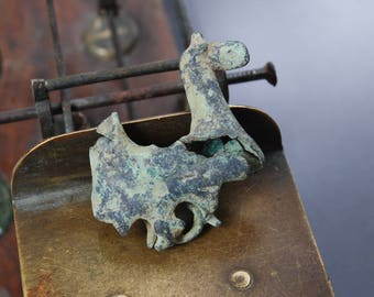 Antique metal horse charm, pendant, connector, finding, dark patina