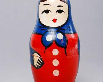 Vintage miniature wooden matryoshka dolls, babushka dolls, Russian nesting dolls. toy
