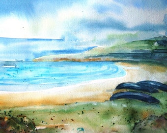 "Irish landscape ""Rain Approaching  Inisheer""   Watercolour Ireland -Original  Art, Aran islands, Currachs, Galway, Seascape"