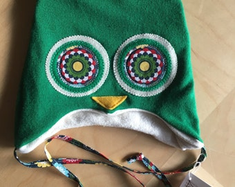 """Hoo Hat -Size Small (17-18.5"""" head)- organic cotton lined"""