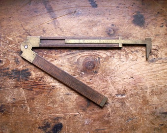 Rare Vintage Stanley No. 36 1/2 L Boxwood and Brass Folding Caliper Ruler - Great Guy Gift