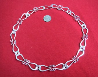 Hand Forged Heavy Sterling & Fine Silver Chain, 18 Inch