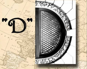 Letter D Alphabet Photography Black and White or Sepia 4 x 6 Photo Letter Unframed