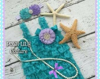 Mermaid Romper set, little mermaid lace ruffle Romper, teal lavender petti romper, Ruffle lace Romper, mermaid pearl rosette headband