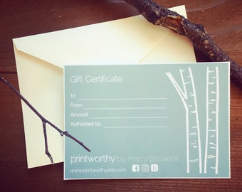 Printworthy Gift Certificate