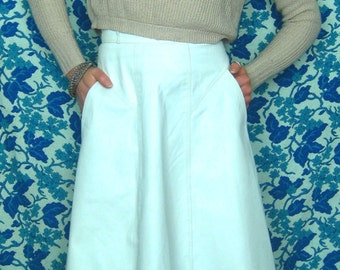 1970's White Leather Mid-length High Waisted Skirt