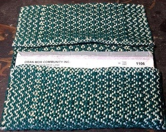 Handwoven Checkbook Holder in Green and White Cotton / hand woven checkbook cover pouch