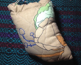Quilted Pipe Pouch with Mushrooms. Upcycled Padded Bag Case