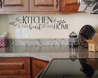 The kitchen is the heart of our home KW1301 pantry decor sign kitchen custom pantry decal