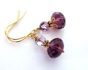 Aubergine crystal bead earrings, Gold plated, Czech crystal, Austrian crystal, plum gold jewelry, Autumn jewelry