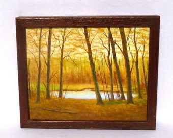 SMALL Vintage WOODSY PAINTING