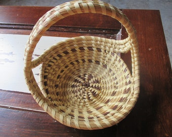 Vintage Woven Basket With Curved Handles