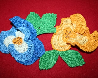 Vintage Hand Crocheted Doily- Pansy