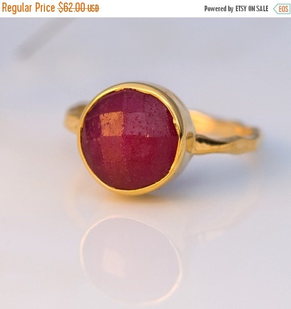 SALE - Ruby Ring Gold - July Birthstone Ring - Stackable Stone Ring - Gold Ring - Bezel Set Ring - Stackable ring