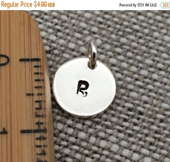 Customize Initial Sterling Silver Round Charms, Hand Stamped Charms, Tags, Monogrammed