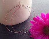 """Delicate Rose Gold Hoop Earrings, Thin 14K Rose Gold Filled Hoop, Large Skinny Hoop,  2"""" +"""