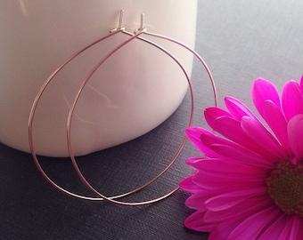 """Rose Gold Hoop Earrings, Rose Gold Jewelry, Rose Gold Earrings, Gold Wire Earrings, Thin Delicate Hoop, Gold Gypsy Hoop, 2"""" +"""