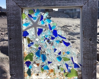 Shooting star with blue tones beach glass
