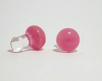 Perfectly Pink Glass Plugs Handmade 8g 6g 4g 2g 1g 0g 0.5g 00g Borosilicate Hypoallergenic Gauge Earring Tunnel Stretched